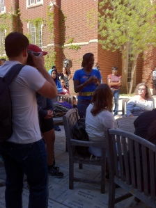 One of my students speaks at an OU Rally in March 2012 about Trayvon Martin's death. Photo Credit: MGCarstarphen.